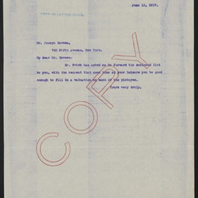 Letter from [Mr. Frick's secretary] to Joseph Duveen, 13 June 1917