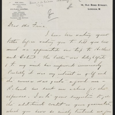Letter from Charles S. Carstairs to Henry Clay Frick, 19 August 1907