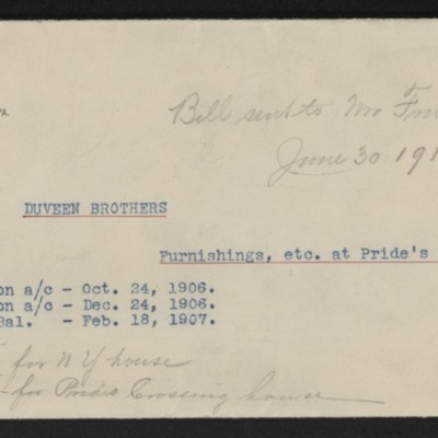 Notes re payments to Duveen Brothers, 30 June 1915