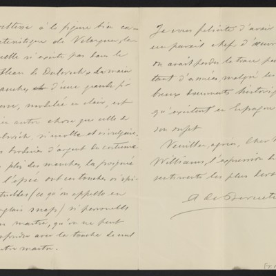 Letter from A. de Beruete to C. Romer Williams, 2 December 1910 [page 2 of 2]