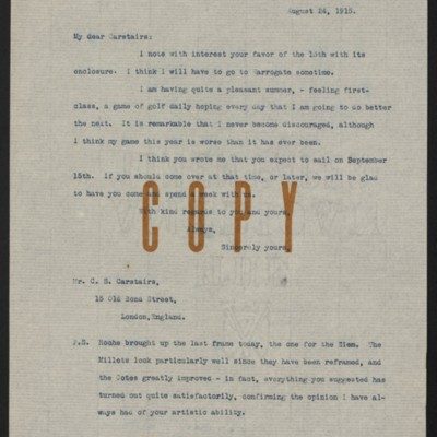 Letter from Henry Clay Frick to Charles S. Carstairs, 24 August 1915