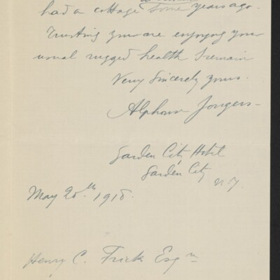 Letter from Alphonse Jongers to Henry C. Frick, 20 May 1918 [page 2 of 2]