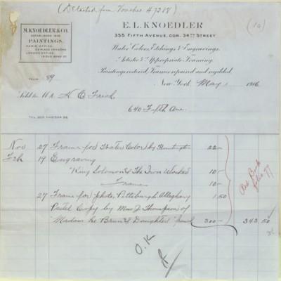 E.L. Knoedler Invoice, 1 May 1906