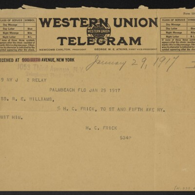 Cable from H.C. Frick to R.E. Williams, 29 January 1917