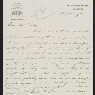 Letter from Charles Carstairs to [Henry Clay] Frick, 18 June 1906