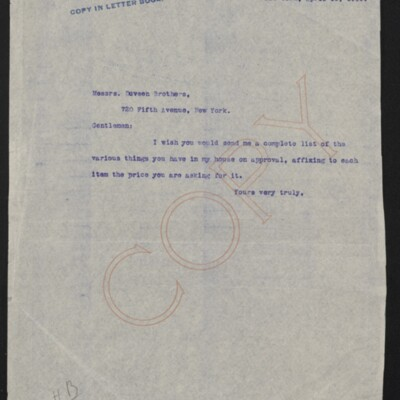 Letter from [H.C. Frick] to Duveen Brothers, 19 April 1919