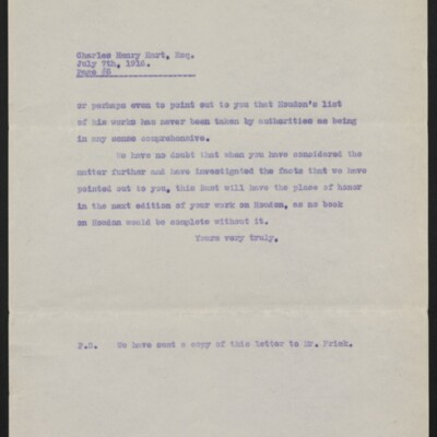Copy of a letter from [Duveen Brothers] to Charles Henry Hart, 7 July 1916 [page 5 of 5]