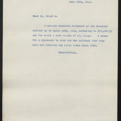 Letter from [W.J. Naughton] to [H.C.] Frick, 28 June 1918