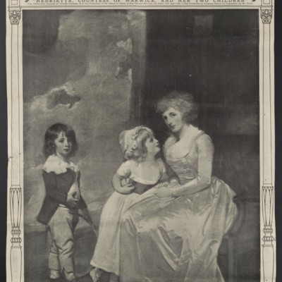 "Clipping from the ""New York Times"" regarding ""Henrietta, Countess of Warwick, and Her Two Children,"" 27 December 1908"