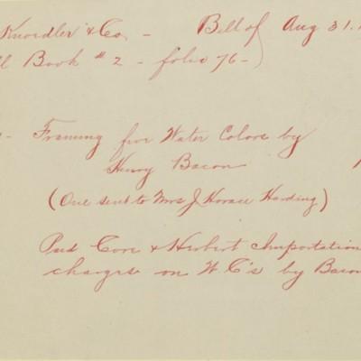 Memorandum prepared by Henry Clay Frick's secretary, 31 August 1912