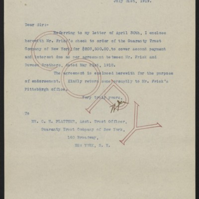 Letter from W.J. Naughton to C.H. Plattner, 31 July 1919
