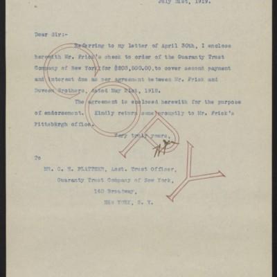 Letter from W.J. Naughton to C.H. Plattner,31 July1919