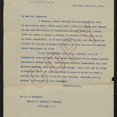 Letter from [Henry Clay Frick] to C.S. Carstairs, 4 December 1914