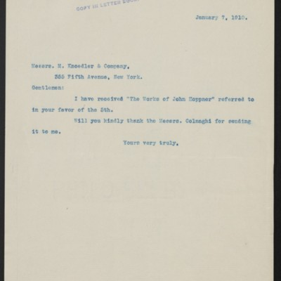 Letter from Henry Clay Frick to M. Knoedler & Co., 7 January 1910