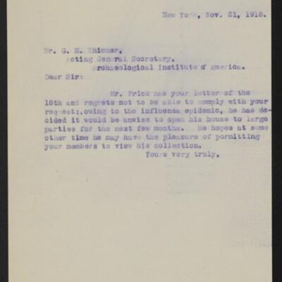Letter from [Alice Braddel] to G.M. Whicher, 21 November 1918