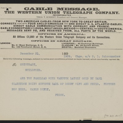 Cable from [Henry Clay] Frick to [Roger E. Fry], 31 December 1909 [front]