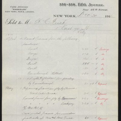 Invoice from M. Knoedler & Co. to Henry Clay Frick, 30 December 1916 [page 1 of 3]