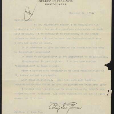 Letter from Benjamin Ives Gilman to Gardiner M. Lane, 26 November 1910