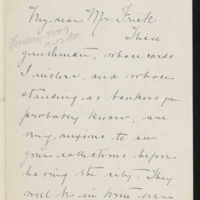 Letter from Ada Thurston to [H.C.] Frick, 5 November 1919 [page 1 of 2]