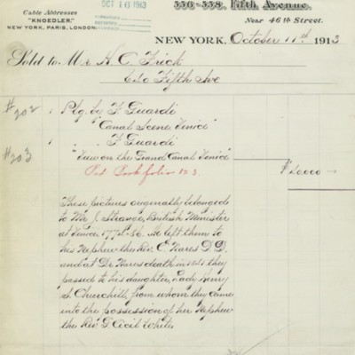 M. Knoedler & Co. Invoice, 11 October 1913