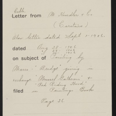 Memorandum, Office of Henry Clay Frick, 1 September 1906