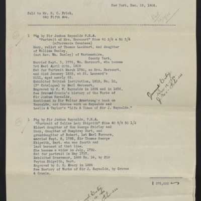 Copy of an invoice from M. Knoedler & Co. to Henry Clay Frick, 19 December 1906 [front]