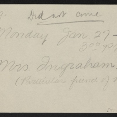Note re visit from Mrs. Ingraham, 24 January 1919 [front]