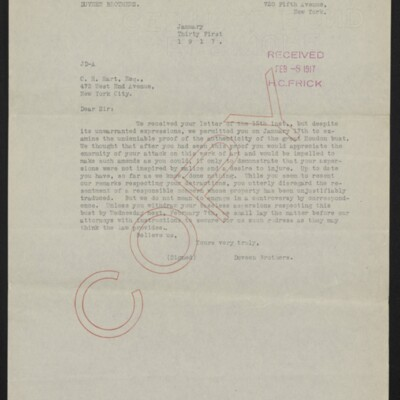 Copy of a letter from Duveen Brothers to Charles Henry Hart, 31 January 1917