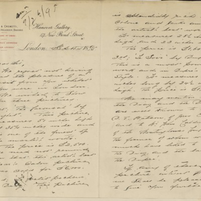 Letter from Hollender & Cremetti to Henry Clay Frick, 16 September 1895