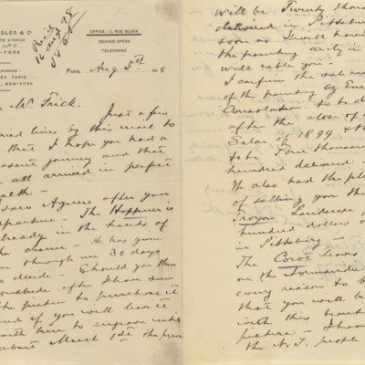 Letter from Roland F. Knoedler to Henry Clay Frick, 5 August 1898
