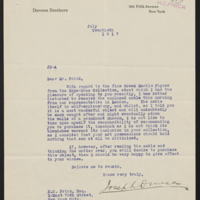 Letter from Joseph Duveen to Henry Clay Frick, 20 July 1917