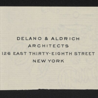 Fragment of stationery of Delano & Aldrich, circa March 1918