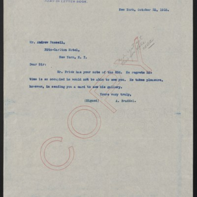 Letter from A. Braddel to Andrew Russell, 25 October 1915