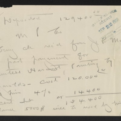 Note by Henry Clay Frick regarding Reynolds painting, 21 September 1909 [front]
