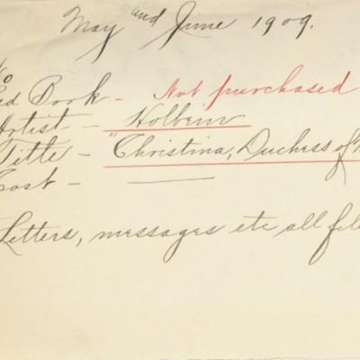 Memorandum prepared by Henry Clay Frick's secretary, May and June 1909