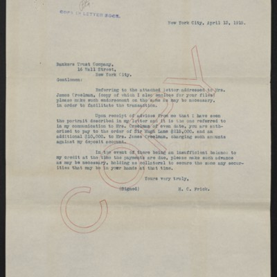 Letter from H.C. Frick to Bankers Trust Co., 13 April 1915
