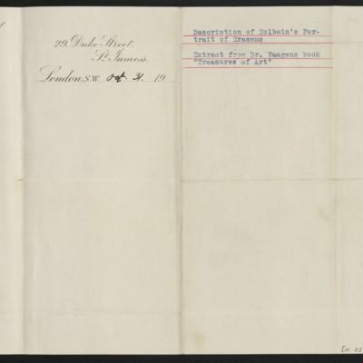"Extract from Dr. Waagen's book ""Treasures of Art,"" copied circa 31 October 1912 [back]"