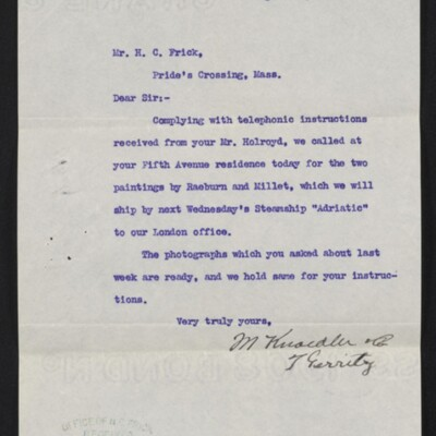 Letter from M. Knoedler & Co. to H.C. Frick, 22 August 1910 [front]
