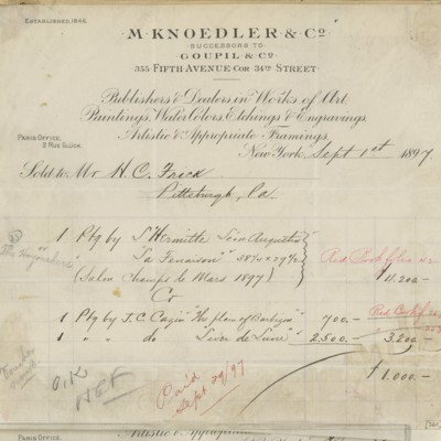M. Knoedler & Co. Invoice, 1 September 1897