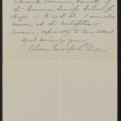 Letter from Clara Crawford Perkins to H.C. Frick, 19 April 1918 [page 3 of 3]