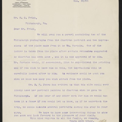 Letter from M. Knoedler & Co. to Henry Clay Frick, 30 November 1896