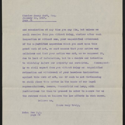 Copy of a letter from [Duveen Brothers] to Charles Henry Hart, 13 January 1917 [page 4 of 5]