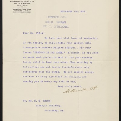 Letter from M. Knoedler & Co. to Henry Clay Frick, 1 December 1899