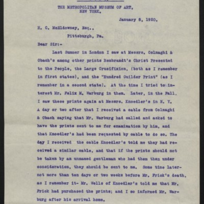 Copy of a letter from William M. Ivins Jr. to H.C. McEldowney, 8 January 1920