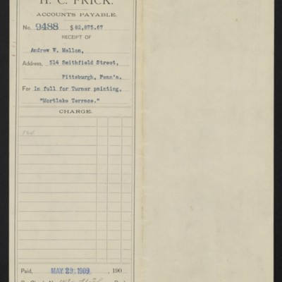 Voucher from Henry Clay Frick to Andrew W. Mellon, 29 May 1909 [front]