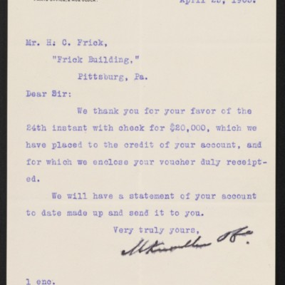 Letter from M. Knoedler & Co. to Henry Clay Frick, 25 April 1903