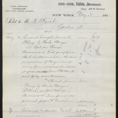 Invoice from M. Knoedler & Co. to Henry Clay Frick, 31 May 1916 [page 5 of 5]