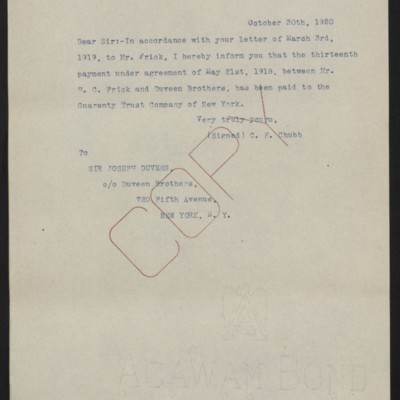 Letter from C.F. Chubb to Joseph Duveen, 30 October 1920