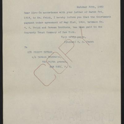 Letter fromC.F. Chubbto Joseph Duveen, 30 October 1920