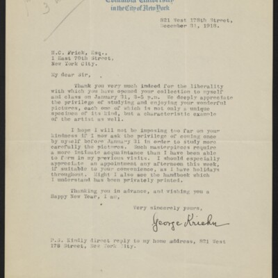 Letter from George Kriehn to H.C. Frick, 31 December 1918